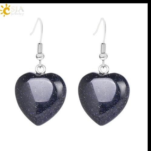 Boucle cœur en obsidienne pailletée