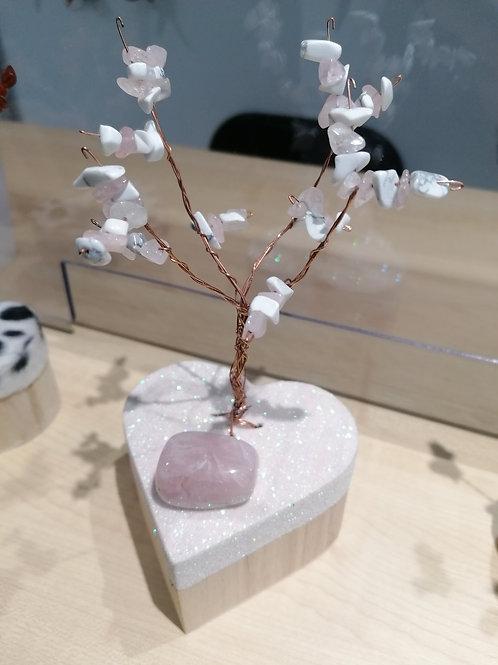 Arbre de vie howlite et quartz rose +  pierre quartz rose