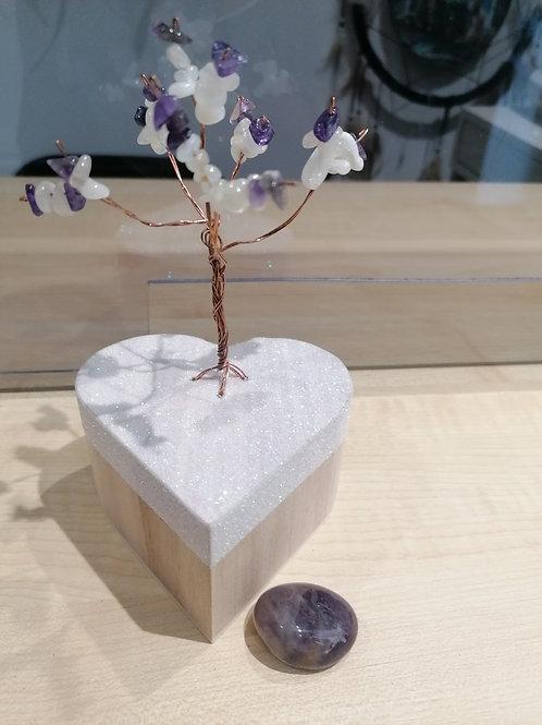 Arbre de vie monté sur une boîte à bijoux en pierre de lune et améthyste +pierre