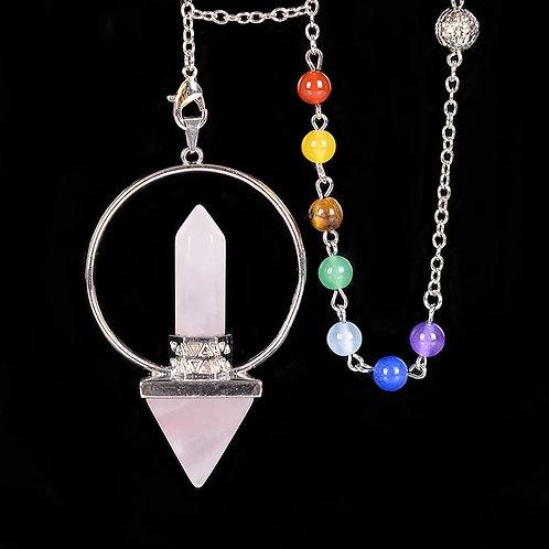 Pendule prisme pyramide quartz rose