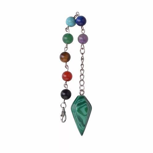 Pendule malachite avec chaîne chakra
