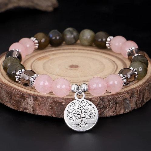 Bracelet labradorite et quartz rose