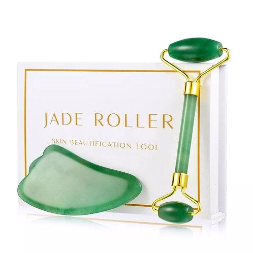 Roller massage visage en jade vert +pierre de massage