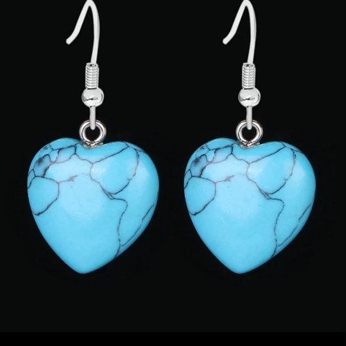 Boucle cœur turquoise