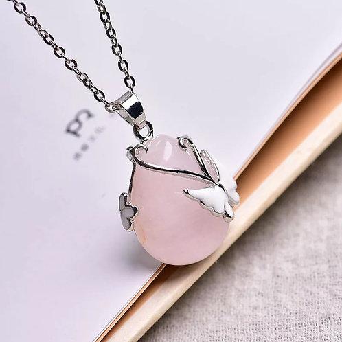 Collier papillon quartz rose