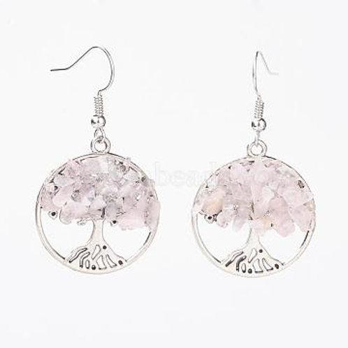 Boucle arbre de vie quartz rose