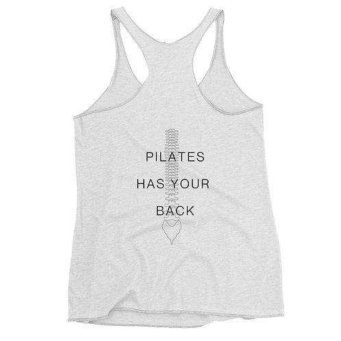 "Women's Racerback Tank ""Pilates has your back"""