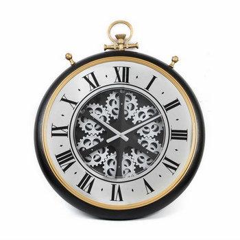 שעון קיר מנגנון חשוף שחור