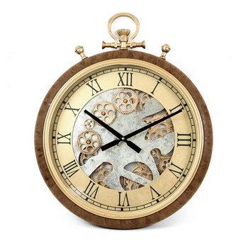 שעון קיר מנגנון חשוף זהב