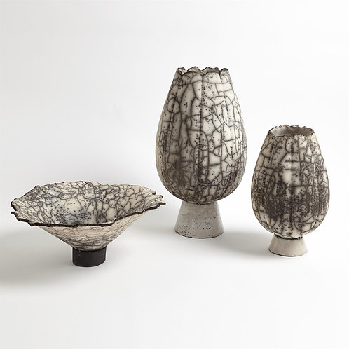 Crackled Footed Vases & Bowl-Black Raku by Global Views