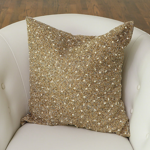 Golden Beaded Pillow by Global Views