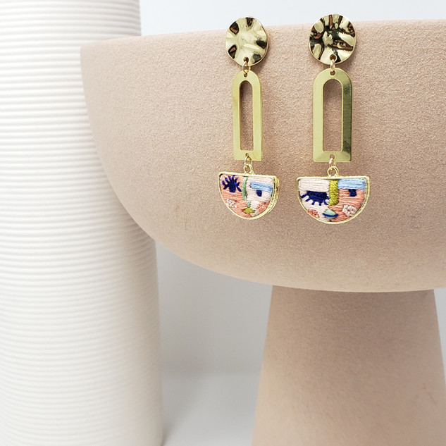 Fiber Earrings - Abstract Faces in Brigh