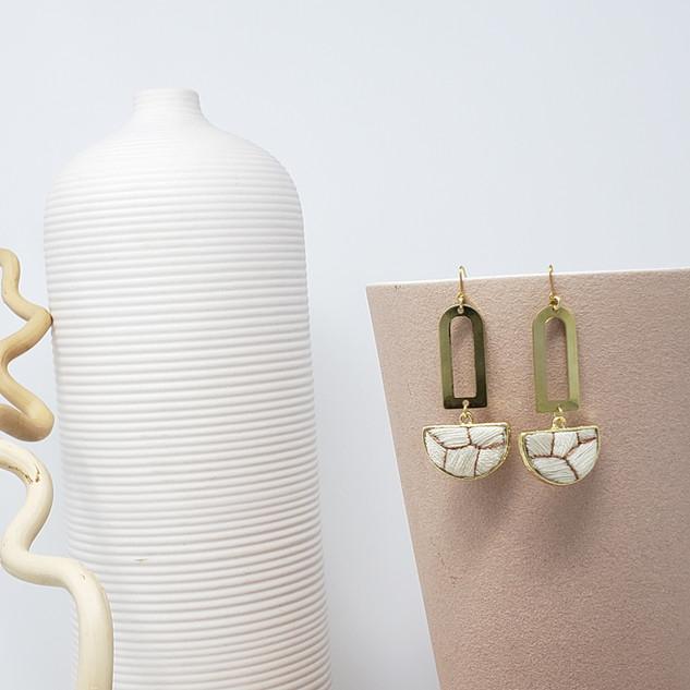 Fiber Earrings - Eggshell Kintsugi.jpg