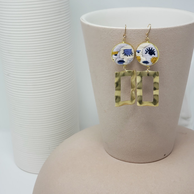 Fiber Earrings - Violet Abstract Faces.j