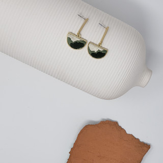 Fiber Earrings - Emerald Balance & Flow.