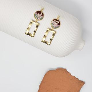 Fiber Earrings - Organic Wavy Rectangles