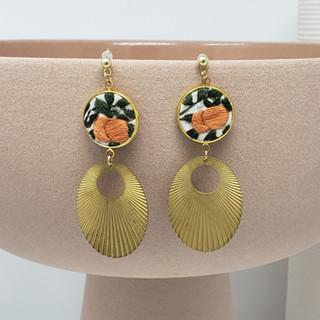 Sweet Orange Fiber Earrings Closeup.jpg