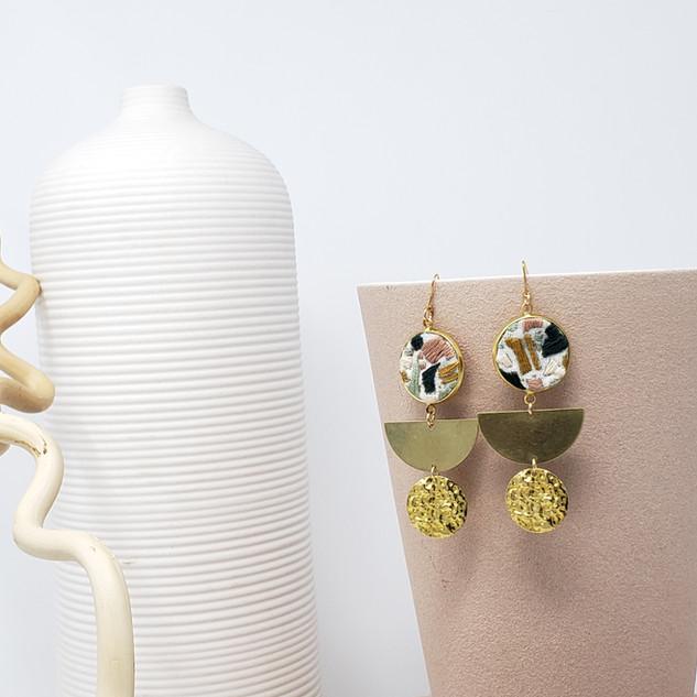 Fiber Earrings - Muted Jewels Terrazzo.j