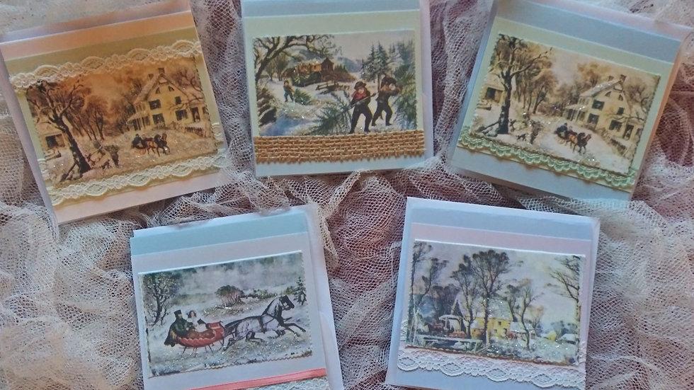 Vintage Christmas Scene Gift Cards - 5 pack