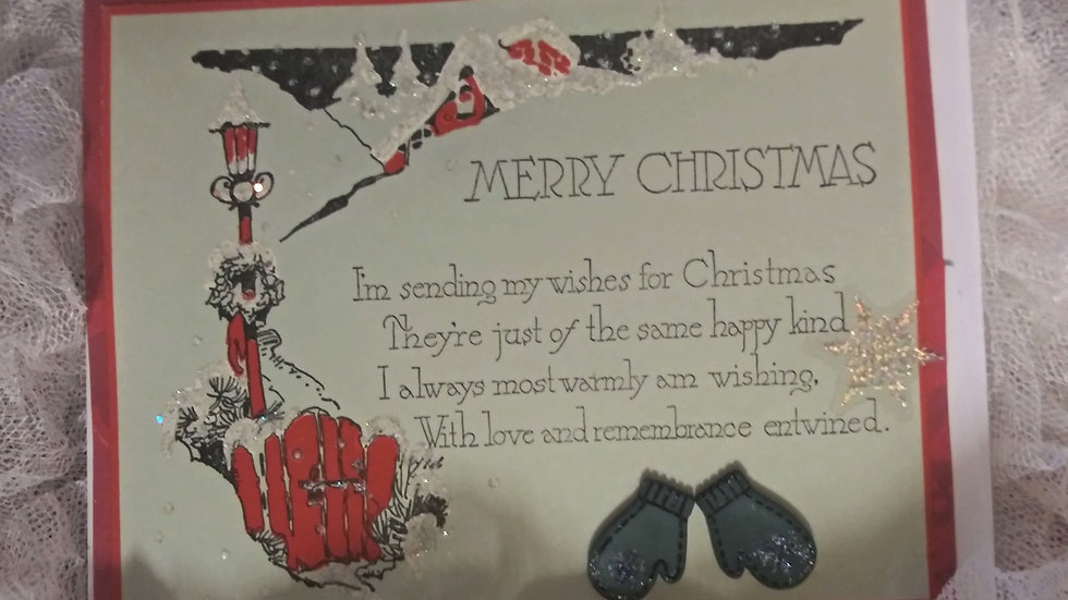 Vintage Christmas Card with Poem