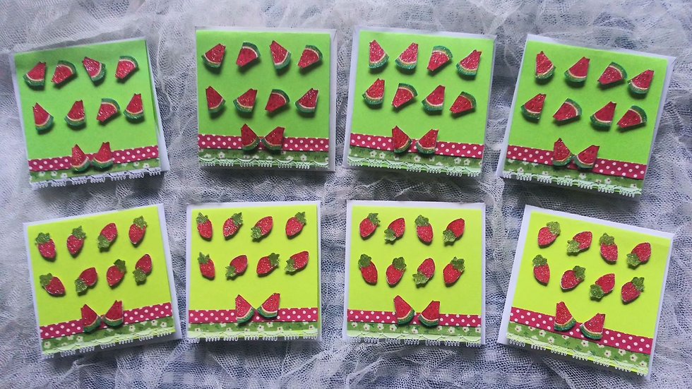 Watermelon & Strawberries Place holder-Greeting Cards - Pack of 8