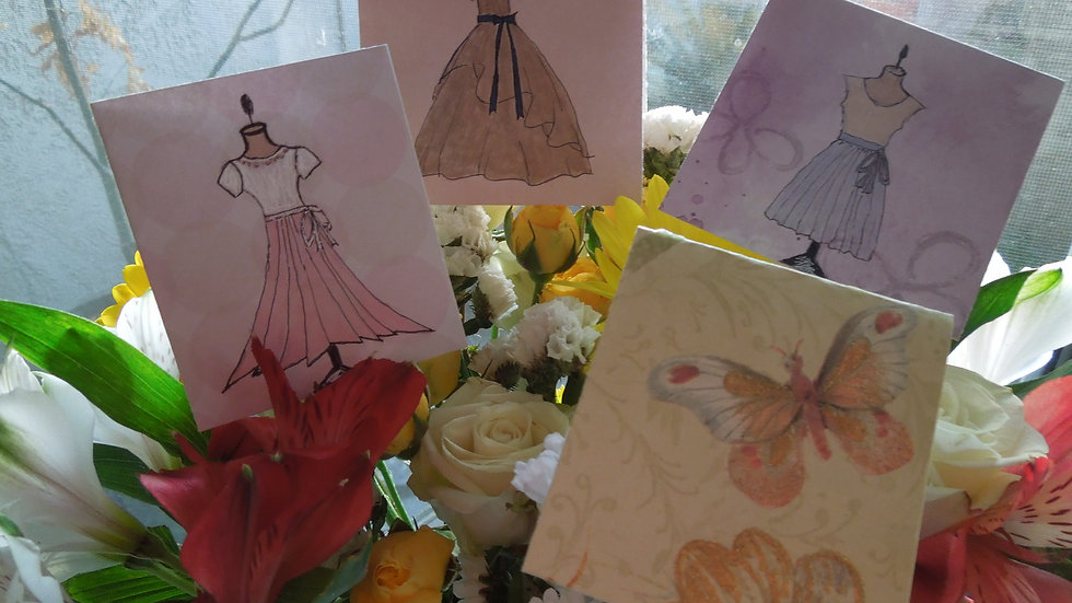 Dress Illustrations & Butterfly Card - Pack of 4