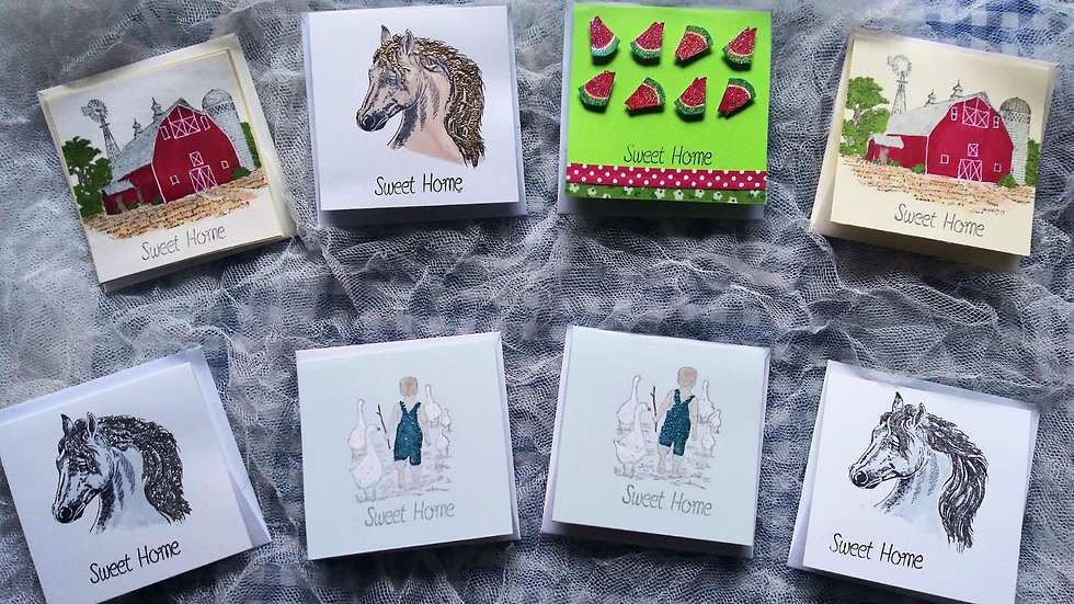 Rural Scenes of Sweet Home Place holder-Greeting Cards - Pack of 8
