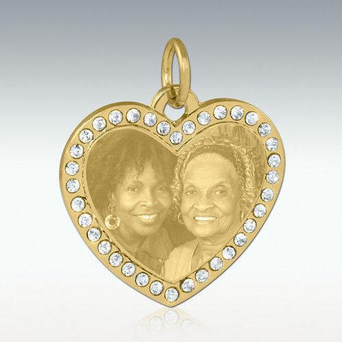 Cubic Zirconia Photo Engraved Heart Pendant