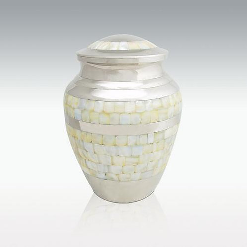 Nickel Mother Of Pearl Cremation Urn