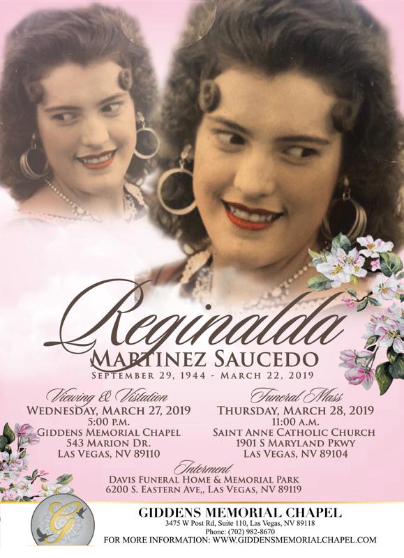Reginalda Martinez Saucedo Announcement.