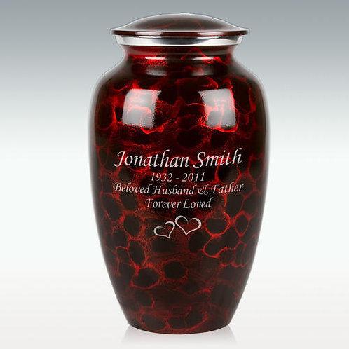 Black & Red Brushed Cremation Urn