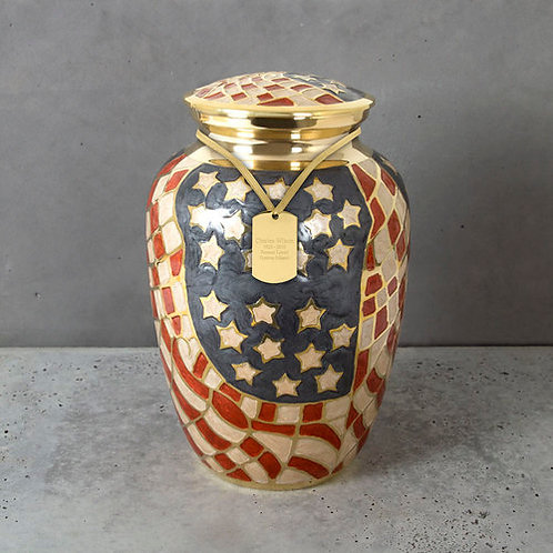 Old Glory Brass Cremation Urn