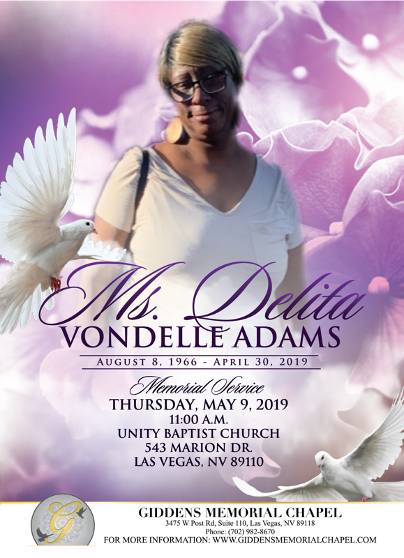 Delita Vondelle Adams Announcement.png