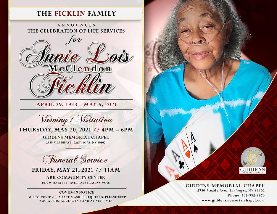 Annie Lois McClendon Ficklin Announcemen