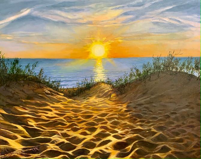 """Sunrise in the Dunes, Oil, 30"""" x 36"""" , $2000."""