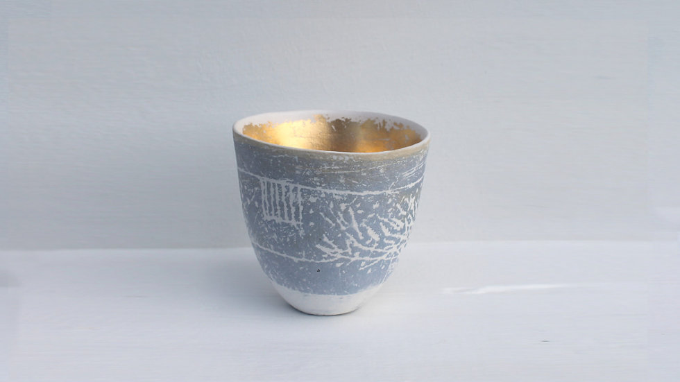 4. Hedge Landscape pot with grey-blue and gold
