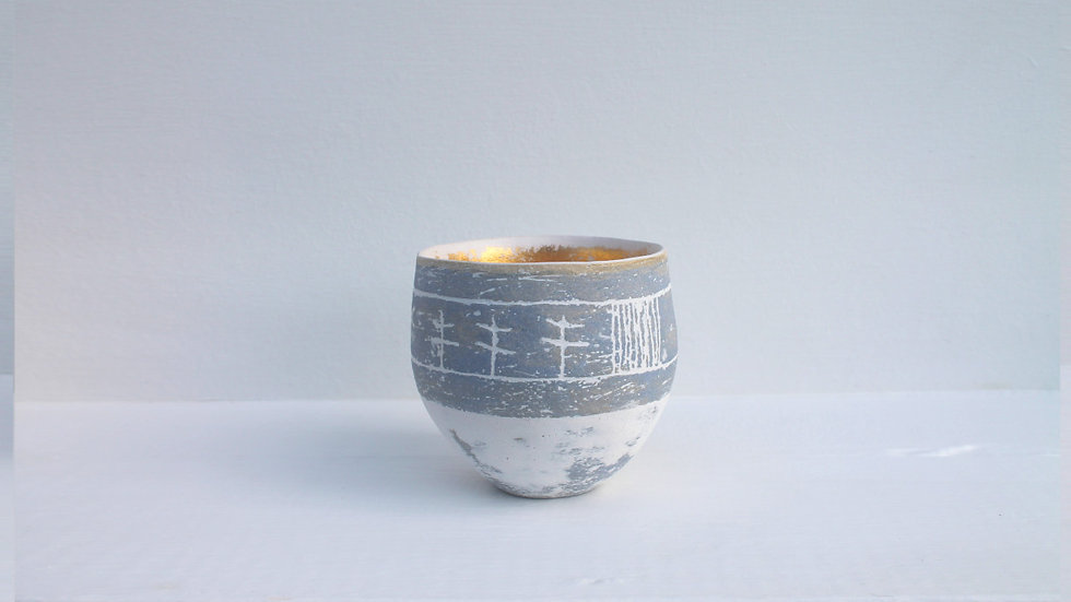 2. Treeline Landscape pot with grey-blue and gold