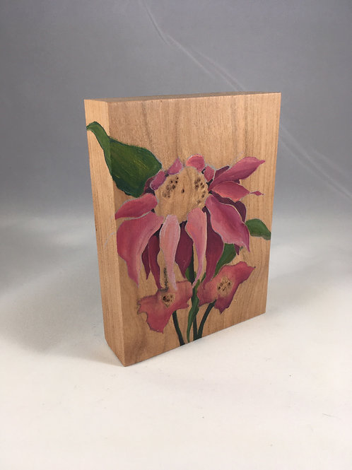 Pink Daisies on Cherry Wood