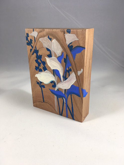 Blue and White Leaves on Cherry Wood