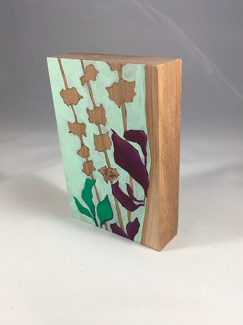 Mint Green/Magenta on Cherry Wood