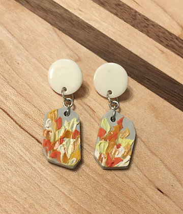 Coral Geos w/ Fish Hook Earring