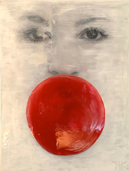 The Girl with the Red Bubblegum 75x100cm
