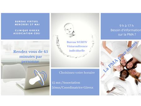 Bureau virtuel , Mercredi 27 mai  2020 avec les cliniques Girexx et L'association Ceki  Enfants kdos
