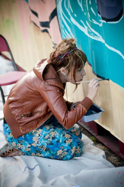 painting the shipping container