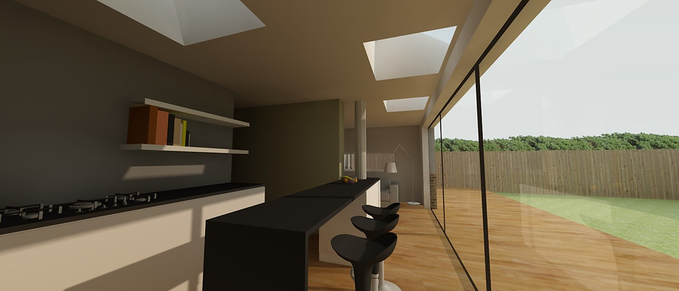 contemporary single storey house extension with sliding doors