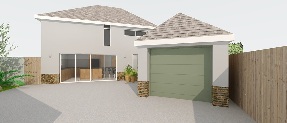 contemporary house extension with structural glass link and bifolding doors