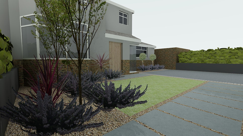 contemporary landscaped front drive