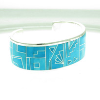 Fancy Silverstrip work Arizona Blue Bracelet