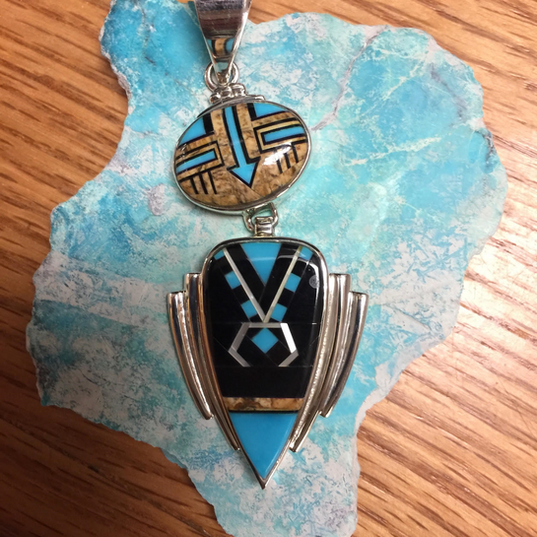 Fancy Inlay Pendant in Turquoise Creek