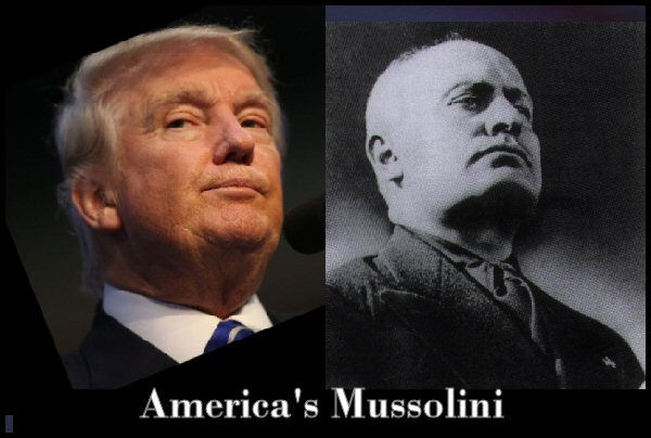 head shot Trump and Mussolini with chins strut forward